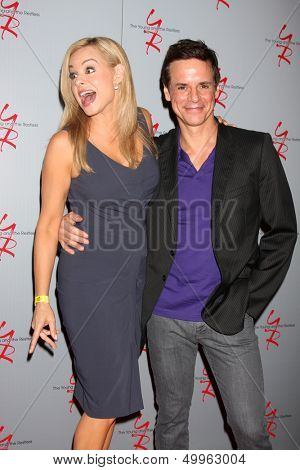 LOS ANGELES - AUG 24:  Jessica Collins, Christian LeBlanc at the Young & Restless Fan Club Dinner at the Universal Sheraton Hotel on August 24, 2013 in Los Angeles, CA
