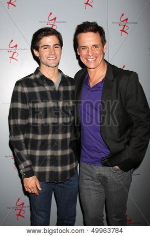 LOS ANGELES - AUG 24:  Max Ehrich, Christian LeBlanc at the Young & Restless Fan Club Dinner at the Universal Sheraton Hotel on August 24, 2013 in Los Angeles, CA
