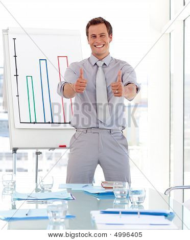 Man Giving A Presenentation With Thumbs Up