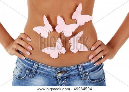 Butterfly on stomach isolated on white