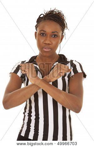 Referee Woman Blocking Sign
