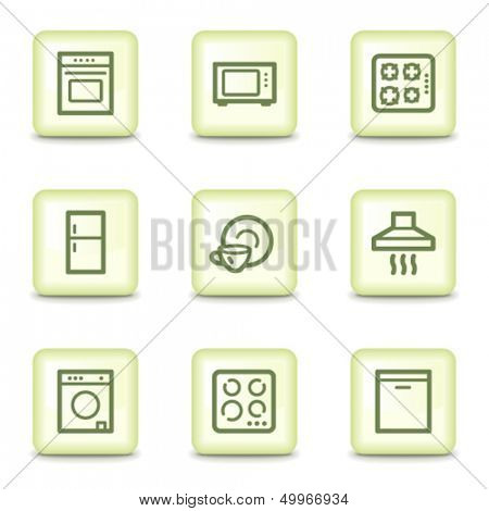 Home appliances web icons, salad green buttons