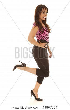 Woman Pink Stripe Top Leg Kicked Up