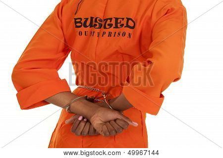 Woman Prisoner Orange Busted Handcuffs Back
