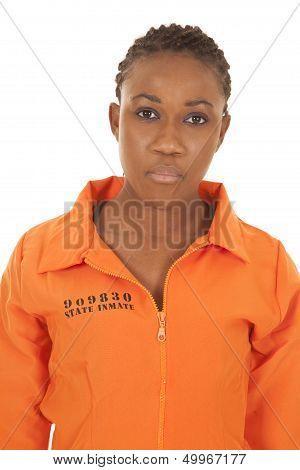 Woman Prisioner Orange Close Serious