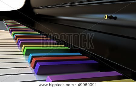 Piano With Rainbow Keys