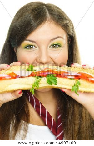 Pretty Girl Eating A Hamburger