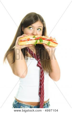 Dreamy Girl Eating A Sandwich