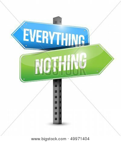 Everything Nothing Road Sign Illustration