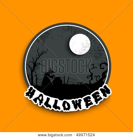 Sticker, tag or label for Happy Halloween party in moonlight night background.