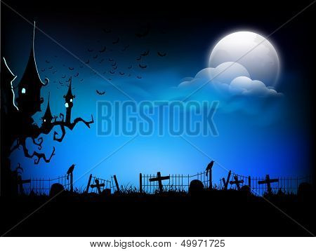 Scary Halloween moonlight night background, can be use as flyer, banner or poster for night parties.
