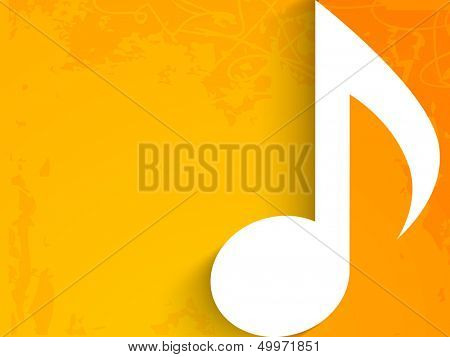 Musical note on grungy yellow background.