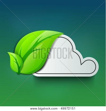 Nature concept with green leave and cloud with space for your message.