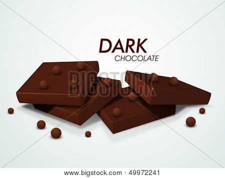 Dark chocolates on abstract background.