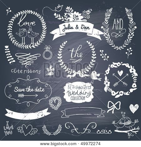Wedding romantic collection with labels, ribbons, hearts, flowers, arrows, wreaths, laurel and birds. Graphic vintage set on chalkboard background.  Save the Date invitation in vector.