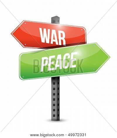 War And Peace Road Sign Illustration