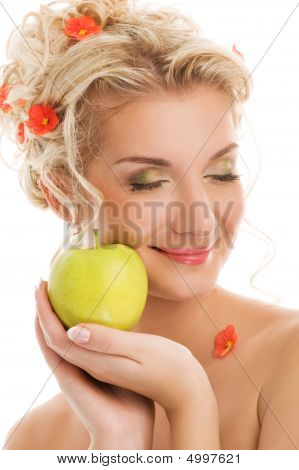 Beautiful Young Woman With Ripe Green Apple. Spring Concept