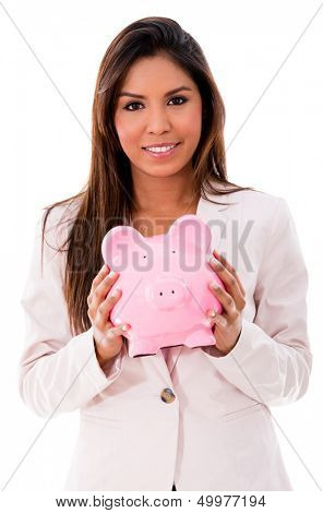 Business woman with a piggybank - isolated over a white background