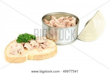 Open tin can and tasty sandwich with tuna, isolated on white