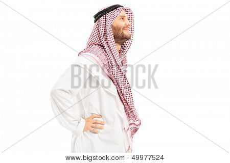 Male arab person standing isolated on white background