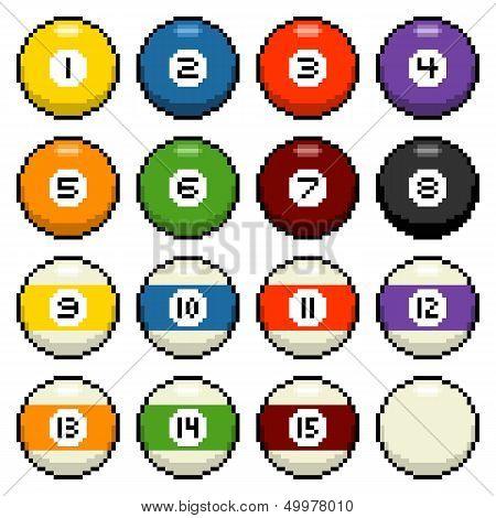 8-bit Pixel Pool Balls