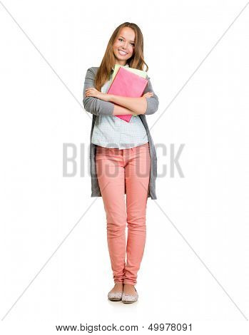 Student Girl Full Length Portrait. Cute Young Attractive Teenage Girl Holding Colorful Exercise Books. Isolated on White Background. University or High School Student Smiling. Education