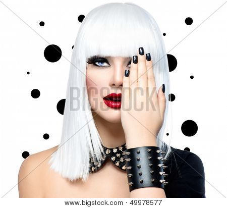 Fashion Beauty Model Girl. Punk Style Woman isolated on White Background. White Hair, Black Nails and Red Lips. Black Leather metal goth punk bracelet with Chrome Studs