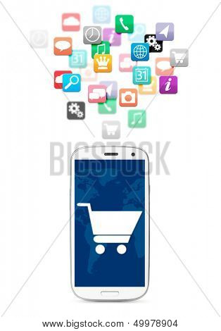 applications cloud for touch screen phone, cut out from white.