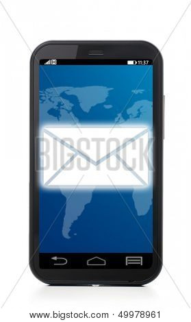 message icon on touch screen phone , cut out from white.