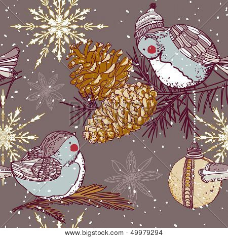 winter seamless pattern with birds