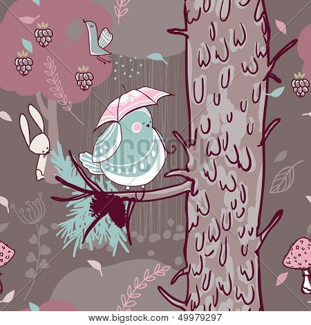 seamless forest pattern with pine tree and bird with umbrella