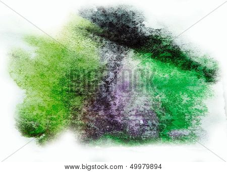 0_watercolor Green, Purple Splash Isolated Spot Handmade Colored Background Annotation Ink On Paper.