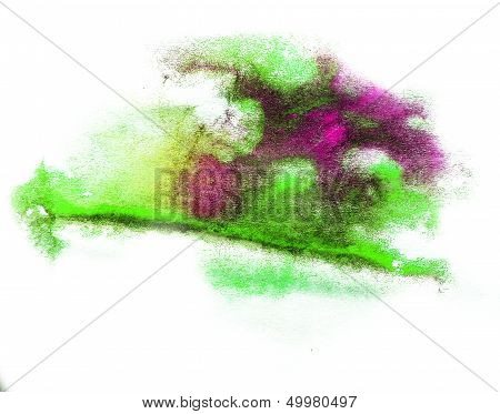 0_watercolor Splash Green, Purple Isolated Spot Handmade Colored Background Annotation Ink On Paper.
