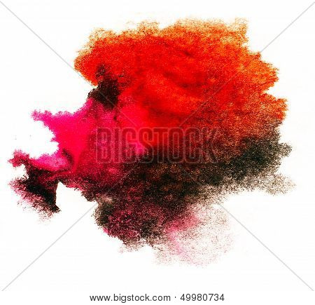 watercolor red splash isolated spot handmade colored background