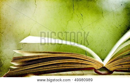 Old books on vintage background