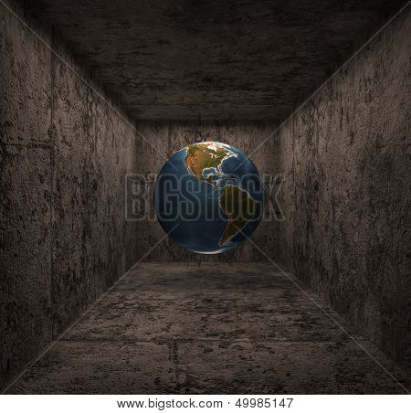 3D render globe falling in a stone well or being in a stone room