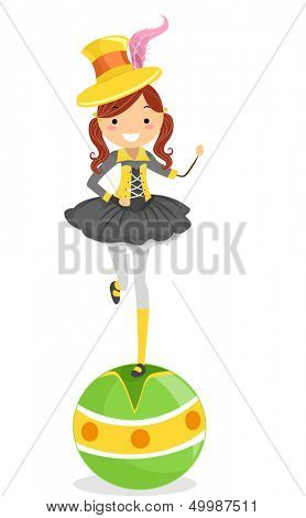Illustration of a Female Circus Performer Standing on Top of a Balancing Ball