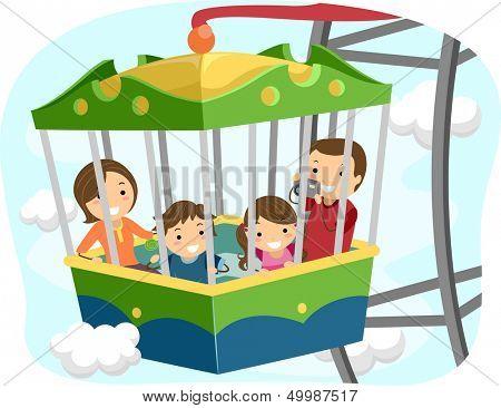 Abbildung einer Stickman-Familie innerhalb der PKW von einem Riesenrad