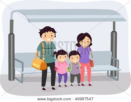Illustration of a Stickman Family Waiting at a Bus Stop