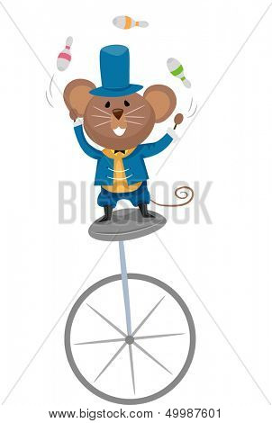 Illustration of a Mouse Juggling Bowling Pins While Riding a Unicycle
