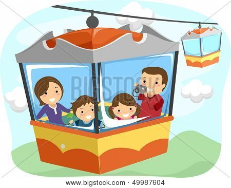 Illustration of a Stickman Family Riding a Cable Car