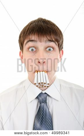 Shocked Man With Many Cigarettes