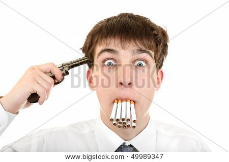 Man With Cigarettes And Gun