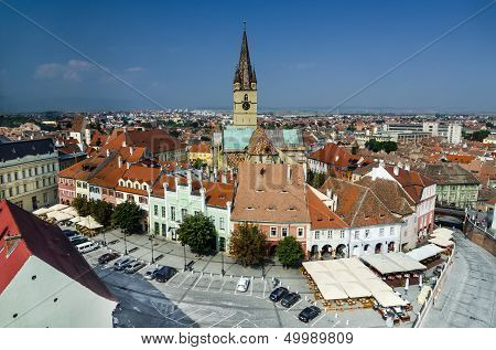 Sibiu Downtown In Transylvania, Romania