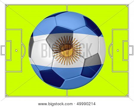 Soccer Football With Argentina Flag Illustration, Concept