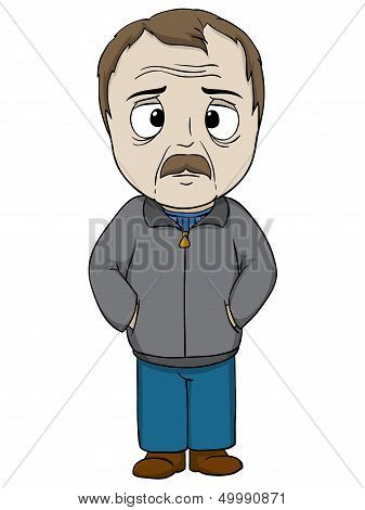 Cartoon Old Man In Gray Coat