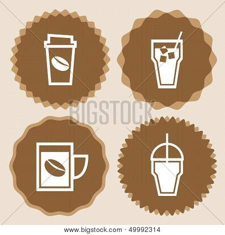 Coffee Cup Icons Badge Set
