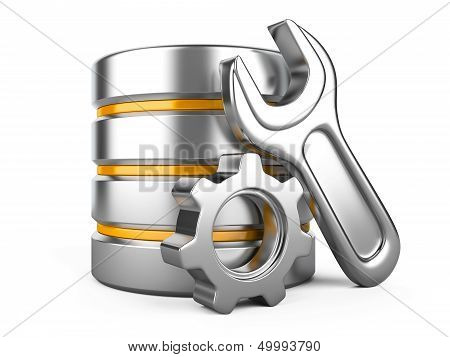 Database With Gear And Spanner On White Background