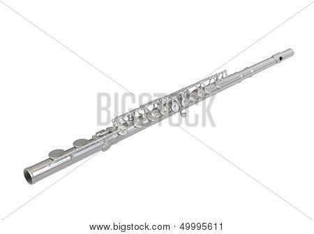 Silver Flute Isolated