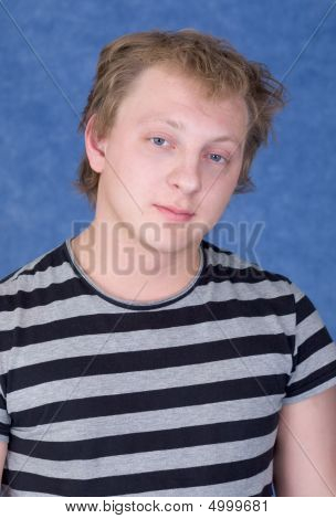 Tousled Guy In A Striped T-shirt